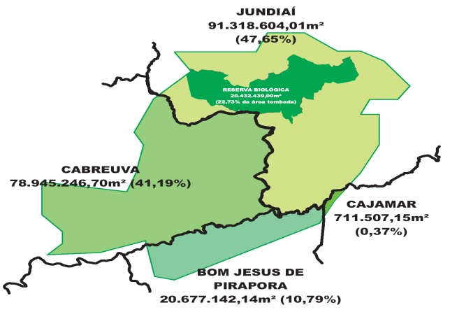Mapa - Jundiaí, Serra do Japi, CONDEPHAAT Área Total